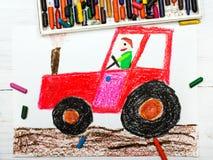 Dibujo: hombre en un tractor rojo Imagen de archivo libre de regalías