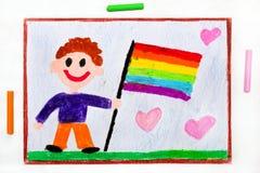 Dibujo: Hombre feliz con la bandera del lgbt El derecho de los homosexuales ilustración del vector