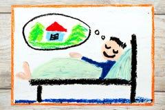 Dibujo: hombre joven durmiente que sueña con un nuevo hogar ilustración del vector