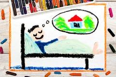 Dibujo: hombre joven durmiente que sueña con un nuevo hogar fotos de archivo libres de regalías