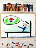 Dibujo: hombre joven durmiente que sueña con un nuevo hogar fotos de archivo