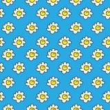 Dibujo inconsútil azul floral de la manzanilla Ilustración del vector Modelo inconsútil de las margaritas blancas en un fondo bri ilustración del vector