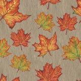 Dibujo inconsútil a mano del modelo de las hojas de otoño con el pastel del aceite stock de ilustración
