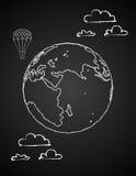 Dibujo infantil de un globo en chalck libre illustration