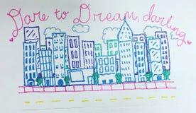 Dibujo inspirado de edificios Fotos de archivo libres de regalías