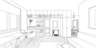 Dibujo interior Imagen de archivo libre de regalías