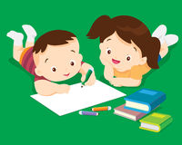 Dibujo lindo del muchacho y de la muchacha imagen de archivo