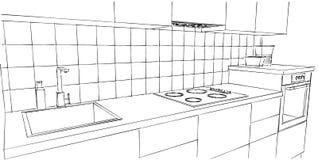 Dibujo lineal blanco y negro de la encimera aislado Foto de archivo libre de regalías