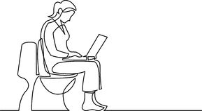 Dibujo lineal continuo de la mujer que se sienta en el asiento de inodoro stock de ilustración