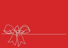 Dibujo lineal continuo de la Navidad Holly Decoration Foto de archivo libre de regalías