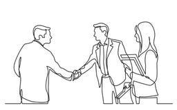 Dibujo lineal continuo de la reunión de negocios con el apretón de manos stock de ilustración