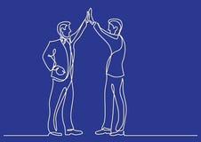Dibujo lineal continuo de la situación de negocio - dos hombres que hacen arriba cinco ilustración del vector