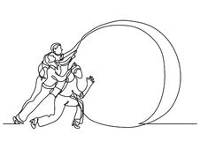 Dibujo lineal continuo de la situación de negocio - esfuerzos del equipo ilustración del vector