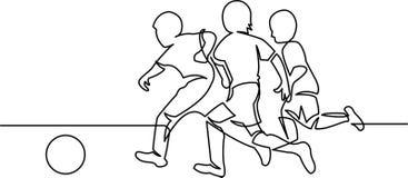 Dibujo lineal continuo de los jugadores de fútbol de la juventud