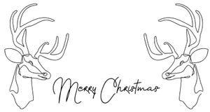 Dibujo lineal continuo de Santa Claus que se sienta en un trineo con el reno Ejemplo del vector simple Feliz Navidad stock de ilustración