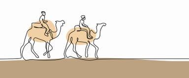 Dibujo lineal continuo del camello que camina en el postre stock de ilustración