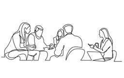Dibujo lineal continuo del equipo del trabajo que tiene reunión libre illustration
