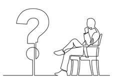 Dibujo lineal continuo del hombre de negocios que se sienta que piensa alrededor a ilustración del vector