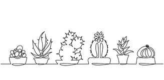 Dibujo lineal continuo del sistema del vector de plantas blancos y negros de la casa del bosquejo del cactus lindo aisladas en el Fotografía de archivo libre de regalías