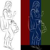 Dibujo lineal de la muchacha de compras Imagen de archivo