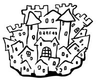 Dibujo lineal de la pequeña ciudad del castillo ilustración del vector
