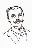 Dibujo lineal de la tinta original Retrato de un caballero de Edwardian Imagen de archivo libre de regalías
