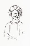 Dibujo lineal de la tinta original Retrato de una muchacha de los años 20 Imagen de archivo