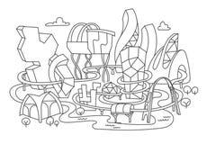 Dibujo lineal de mano, arquitectura futurista de la ciudad Imagen de archivo