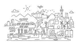 Dibujo lineal de mano, arquitectura futurista de la ciudad del eco Fotos de archivo