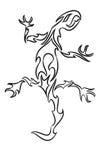 Dibujo lineal de un lagarto Foto de archivo libre de regalías