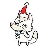 dibujo lineal de un lobo hambriento que lleva el sombrero de santa ilustración del vector