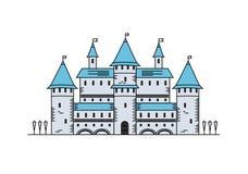 Dibujo lineal del castillo medieval del cuento de hadas stock de ilustración