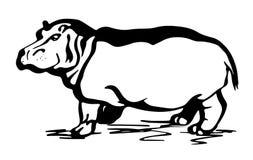 Dibujo lineal del hipopótamo stock de ilustración