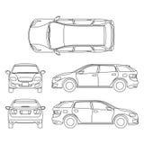 Dibujo lineal del vehículo blanco del coche, arte de ordenador de vector ilustración del vector