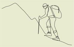 Dibujo lineal del viajero uno de la montaña stock de ilustración