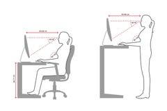 Dibujo lineal ergonómico de una sentada correcta de la mujer y de una postura permanente al usar un ordenador ilustración del vector