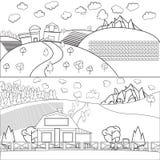 Dibujo lineal fino del granero de la casa de Countru Fotografía de archivo libre de regalías