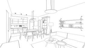 Dibujo lineal interior Imagenes de archivo