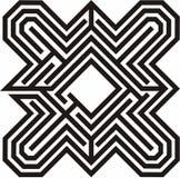 Dibujo lineal negro y blanco de un laberinto Foto de archivo