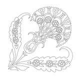 Dibujo lineal simple del diseño turco del estampado de flores de flor decorativa stock de ilustración