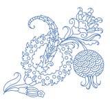 Dibujo lineal simple del diseño turco del estampado de flores de flor decorativa de la granada ilustración del vector