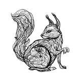 Dibujo linear aislado blanco y negro del contorno de la tinta de un bosque stock de ilustración