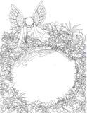 Dibujo linear de la muchacha de hadas con las alas cerca de la charca redonda stock de ilustración