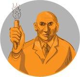 Dibujo loco del círculo de Holding Test Tube del científico ilustración del vector