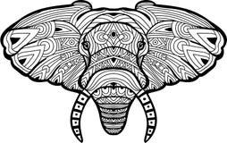 Dibujo a mano monocromático de la tinta Elefante pintado en el fondo blanco ilustración del vector