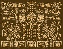 Dibujo maya de símbolos antiguos Imágenes de archivo libres de regalías