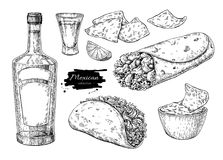 Dibujo mexicano de las cocinas Illu tradicional del vector de la comida y de la bebida libre illustration