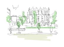 Dibujo minimalistic de Digitaces del paisaje de Kyiv Fotografía de archivo libre de regalías