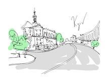 Dibujo minimalistic de Digitaces del paisaje de Kyiv Fotos de archivo