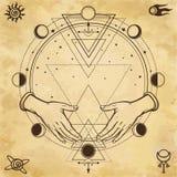 Dibujo misterioso: las manos humanas llevan a cabo un círculo mágico, geometría sagrada Símbolos del espacio stock de ilustración